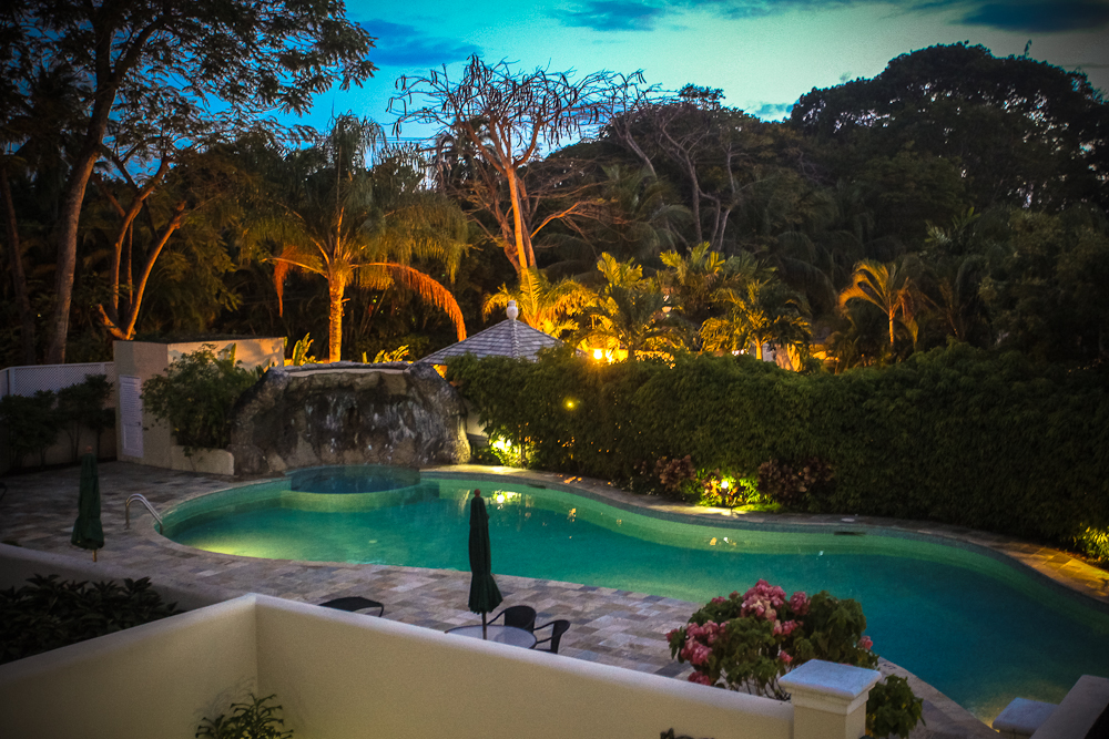 Jus Chillin, Barbados, night time pool view